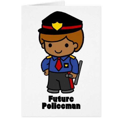 Policía futuro - muchacho tarjeta de felicitación