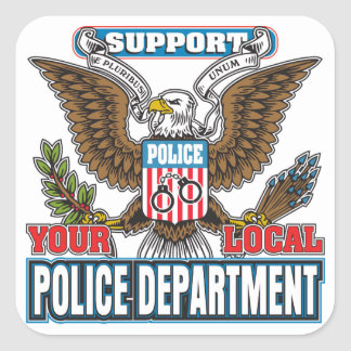 Policía local de la ayuda calcomanías cuadradas