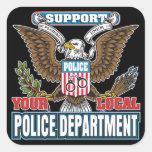 Policía local de la ayuda calcomanías cuadradass