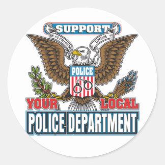 Policía local de la ayuda pegatina redonda