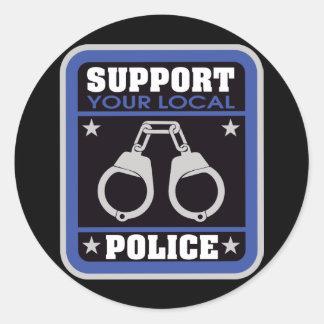 Policía local de la ayuda etiqueta redonda