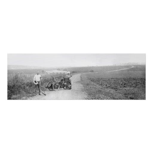 Policía motorizado del tándem 3 del vintage impresiones fotograficas