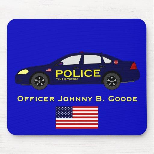 Policía Mousepad con la bandera americana Tapete De Ratones