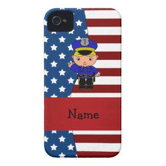 Policía patriótico conocido personalizado iPhone 4 Case-Mate protector
