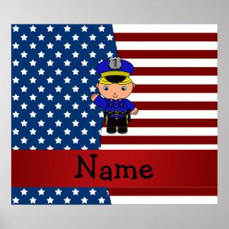 Policía patriótico conocido personalizado poster