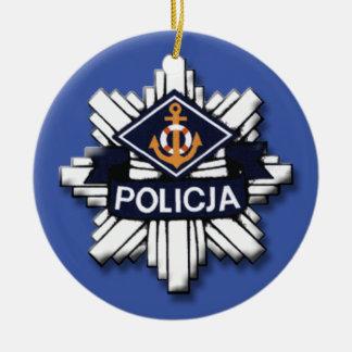 Policía polaca adorno navideño redondo de cerámica