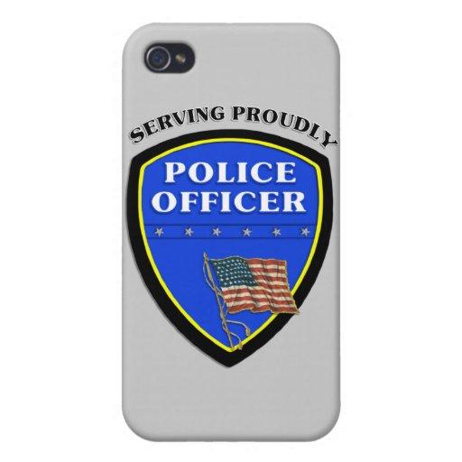 Policía que sirve orgulloso iPhone 4 carcasa