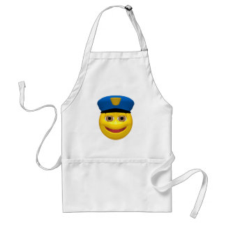 Policía sonriente amarillo feliz delantales