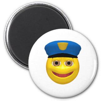 Policía sonriente amarillo feliz imanes de nevera