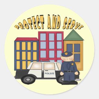 Policías de los muchachos etiqueta redonda