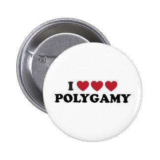Poligamia divertida del corazón de I Pin Redondo De 2 Pulgadas