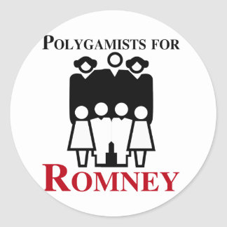 Polígamos para Romney.png Pegatina Redonda