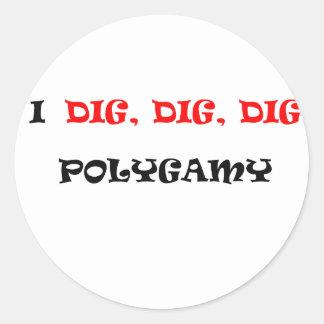 POLIGAMY CLASSIC ROUND STICKER