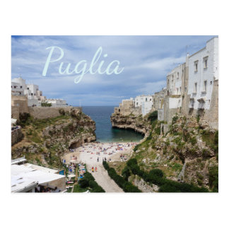 Polignano a Mare city beach, Puglia text postcard