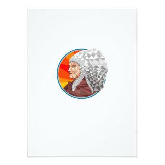 Polígono bajo del guerrero del jefe indio del invitación 13,9 x 19,0 cm