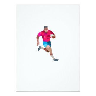"""Polígono bajo """"running side"""" del jugador del rugbi invitación 13,9 x 19,0 cm"""