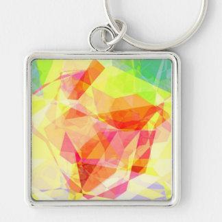 Polígonos abstractos 121 llavero cuadrado plateado