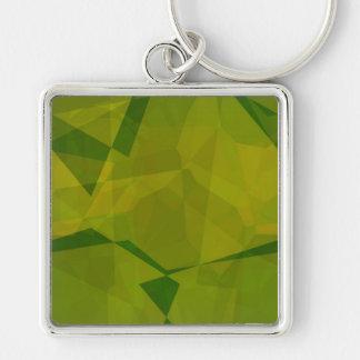 Polígonos abstractos 131 llavero cuadrado plateado