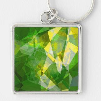 Polígonos abstractos 135 llavero cuadrado plateado