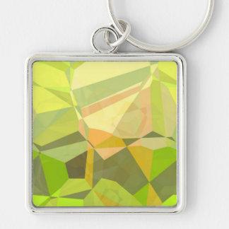 Polígonos abstractos 146 llavero cuadrado plateado