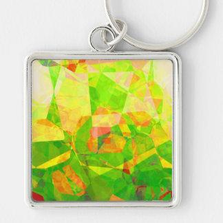 Polígonos abstractos 205 llavero cuadrado plateado
