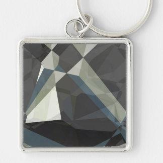 Polígonos abstractos 210 llavero cuadrado plateado