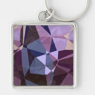 Polígonos abstractos 243 llavero cuadrado plateado