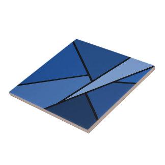 Polígonos azules abstractos azulejo cuadrado pequeño