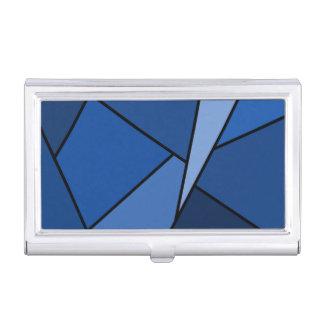 Polígonos azules abstractos cajas de tarjetas de negocios