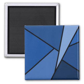 Polígonos azules abstractos imán cuadrado