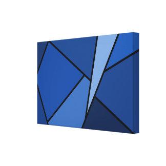 Polígonos azules abstractos lona estirada galerías
