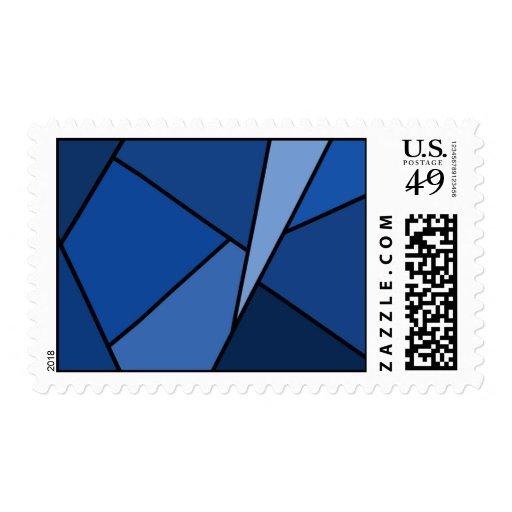 Polígonos azules abstractos - medio franqueo