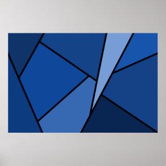 Polígonos azules abstractos póster