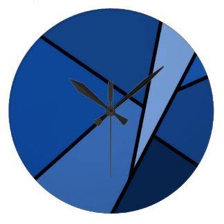 Polígonos azules abstractos reloj redondo grande