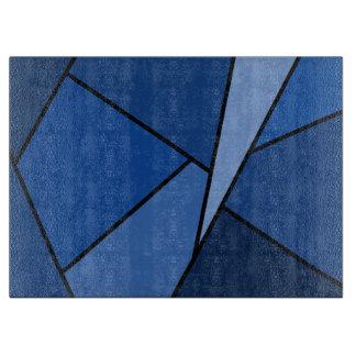 Polígonos azules abstractos tabla de cortar