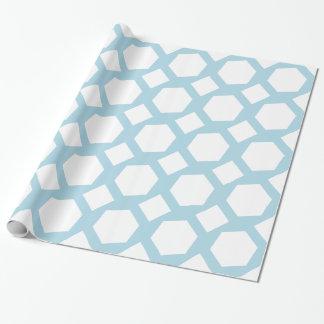 Polígonos azules claros y blancos papel de regalo