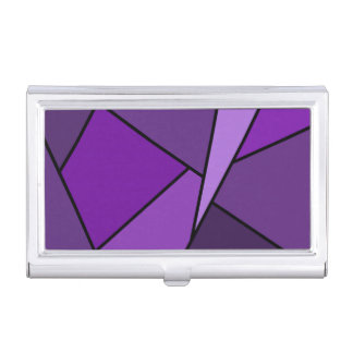 Polígonos púrpuras abstractos caja de tarjetas de presentación