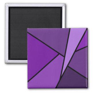 Polígonos púrpuras abstractos imán cuadrado