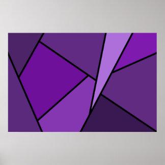 Polígonos púrpuras abstractos póster