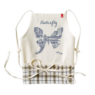Polilla azul de la mariposa del dril de algodón en delantal zazzle HEART