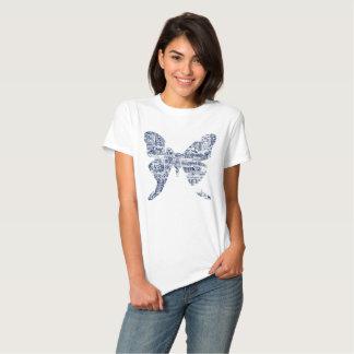 Polilla azul de la mariposa del dril de algodón en playeras