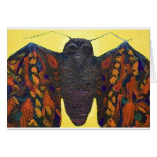 Polilla negra pintura surrealista del insecto tarjeta