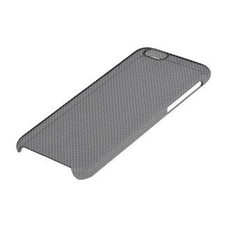 Polímero negro y gris de la fibra de carbono funda clear para iPhone 6/6S