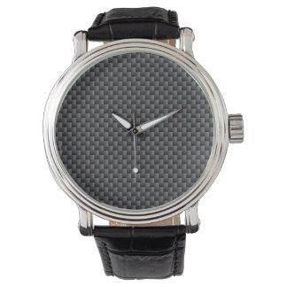 Polímero negro y gris de la fibra de carbono relojes de mano