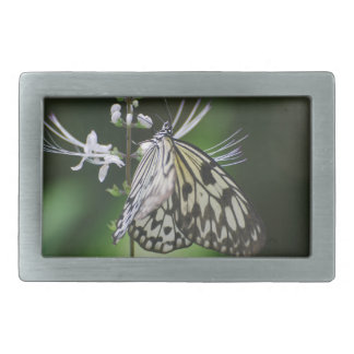 Polinating White and Black Butterfly Belt Buckle