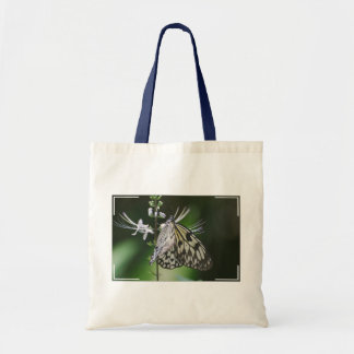 Polinating White and Black Butterfly Budget Tote Bag