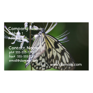 Polinating White and Black Butterfly Double-Sided Standard Business Cards (Pack Of 100)