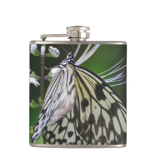 Polinating White and Black Butterfly Flask
