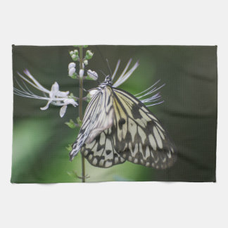 Polinating White and Black Butterfly Hand Towel