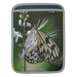 Polinating White and Black Butterfly iPad Sleeve